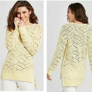 OPEN WEAVE KNIT LONG SLEEVE TUNIC SWEATER PULL OVE